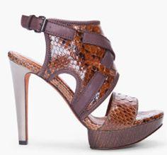 Lanvin Open Toe Python Skin Suede Sandal for women — Python skin heels in dark brown and black    80% python skin, 20% leather. Sole: 100% suede
