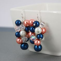 Big Chunky Earrings, Navy and Coral Earrings, Coral Navy Earrings, Pearl Earrings, Bridesmaid Earrings, Bridesmaid Gift, Cluster Earrings by DaisyBeadzJoaillerie on Etsy https://www.etsy.com/ca/listing/167403353/big-chunky-earrings-navy-and-coral