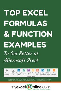 The must know Excel formulas & functions examples with workbooks. Formulas such as: Sums, Counts, Vlookup, Subtotals, Lookup and more Excel formula examples
