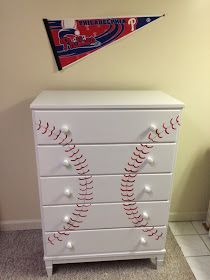 This dresser, that was once used by another young boy, was needing an update. The dresser was rock solid, but looked dated (s. Baseball Dresser, Baseball Furniture, Baseball Nursery, Baseball Bathroom, Diy Dresser Makeover, Furniture Makeover, Dresser Makeovers, Kids Bedroom Sets, Bedroom Themes