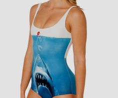 Jaws and Little Mermaid One Piece Swimsuit by PopHeartClothing, €18.00