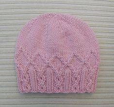 "Ravelry: Hat ""Adeline"" pattern by Yelena Chen - Knitting a love Baby Hat Knitting Patterns Free, Baby Hat Patterns, Baby Hats Knitting, Crochet Baby Hats, Knitting Stitches, Knit Patterns, Free Knitting, Knitted Hats, Knit Crochet"
