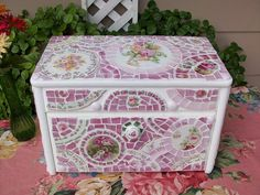 Cottage White Shabby Mosaic Kitchen Bread Box | Just listed … | Flickr