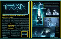 Tron Legacy Magazine Spread by eanimusic on DeviantArt Yearbook Class, Tron Legacy, James White, Magazine Spreads, Grid Layouts, Daft Punk, Typo, Good Movies, Newspaper