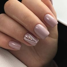 Manicure | Nails | Pink | Neutral | Accent Nail | Nail Design | Geometric | Short Nails | Glitter | Rose Gold