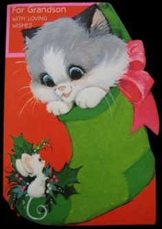 Vintage-Christmas-Greeting-Card-Die-Cut-Embossed-Kitten-in-Stocking-Mouse-H-Cd
