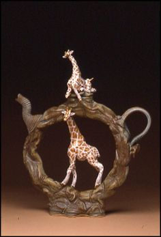 Ray Bub - Ceramic Art Teapots - African Giraffes Upright Ring Teapot