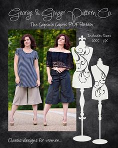 The Capsule Capris (Women's Sizes) PDF Sewing Pattern by GeorgeandGingerCo on Etsy https://www.etsy.com/listing/281171602/the-capsule-capris-womens-sizes-pdf