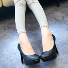 Womens Shoes High Heels High Platform PU Leather Roud Toe Elegant OL Boat Shoes Slim Sexy T813Z