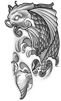 dessin tatouage japonais vague et carpe koi