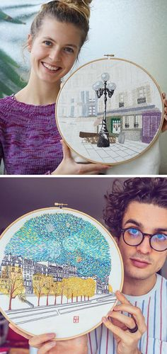 Textile artist couple—Charles Henry and Elin Petronella—create charming embroidery designs inspired by architecture.