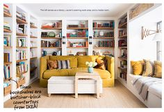 builtin book shelves using butcher block counter from Ikea