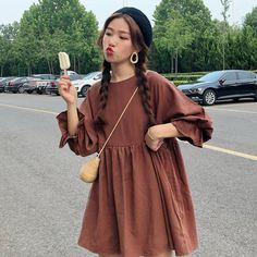 Whoosh Crew-Neck Long-Sleeve A-Line Dress Clothing > Dresses & Skirts Dress Whoosh Pakistani Fashion Casual, Hijab Fashion, Korean Fashion, Muslim Fashion, Bad And Boujee Outfits, Hijab Dress Party, Smock Dress, Babydoll Dress Outfit, Feminine Style