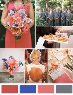 Stunning Coral and Violet Blue Wedding - Fabulous Wedding Wedding Trends Part 3 Fall Wedding Colors, Wedding Color Schemes, Blue Wedding, Spring Wedding, Dream Wedding, Wedding Day, Wedding Rustic, Gray Weddings, Wedding 2015