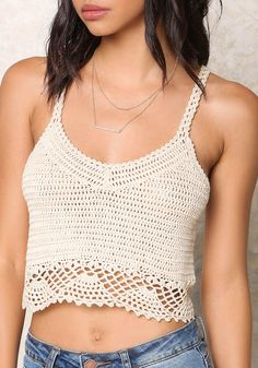 Taupe Crochet Crop Top - Clothes
