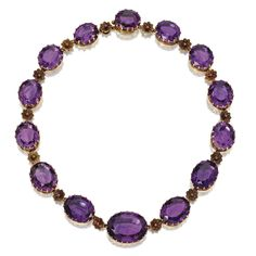Gold and Amethyst Necklace, circa 1860 The graduated single row set with 14 oval amethysts within gold prongs, spaced by gold florets, length 15 inches. With fitted box stamped Morel & Cie, J. Chaumet successeur, Paris.