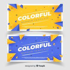 Banners abstratas com design plano Vetor grátis Banner Design Inspiration, Web Banner Design, Design Plano, Pop Design, Free Design, Layout Design, Flat Design Poster, Memphis Design, Promotional Design