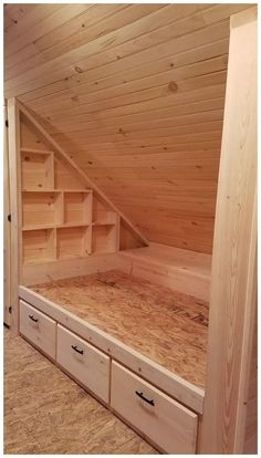 Agencement Cuisine: built-in bed. - Agencement Cuisine: built-in . - Agencement Cuisine: built-in bed. – Agencement Cuisine: built-in bed. Attic Renovation, Attic Remodel, Garage Remodel, Garage Stairs, Open Stairs, Garage Loft, Loft Stairs, Garage Workbench, Attic Bedrooms