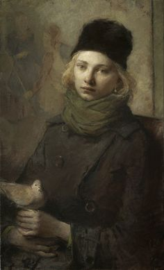 portrait of girl with a dove by charles weed