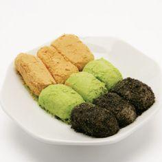 Korean dessert - Injeolmi (rice cake rolled in soybean, green tea & black sesame powder) ; photo only