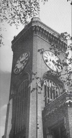 "Workers removed the clock mechanism from the iconic tower of the Elgin National Watch Company in 1965 as plans for the factory's demolition progressed. Photo from the ""The Watch Word"" magazine in the Gail Borden Public Library collection. Elgin Illinois, Kane County, Chicago Pictures, Top News Stories, Watch Companies, Looking Back, Big Ben, Past"