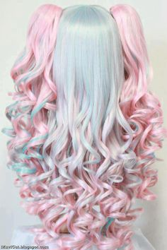 CPink and Blue Hair hair pink hair blue hair hairstyles colored hair hair colors hair ideas hair trends 2 toned Kawaii Hairstyles, Pretty Hairstyles, Wig Hairstyles, Latest Hairstyles, Pastel Wig, Pastel Goth, Pastel Makeup, Doll Style, Kawaii Wigs