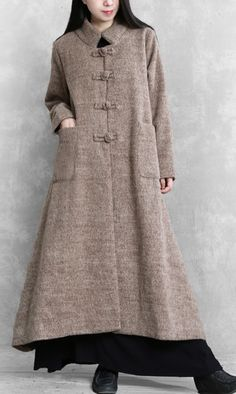 Elegant khaki woolen coats plus size long jackets women stand collar large hem coats Plus Size Down Coats, Coats For Women, Jackets For Women, Autumn Clothes, Woman Standing, Long Jackets, Sweater Coats, Plus Size Fashion, Long Kurtis