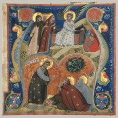 Initial A with Scenes of Easter, ca. 1320 From an Augustinian antiphonary Nerius (Italian, active 1310–25) Italian (Bologna)