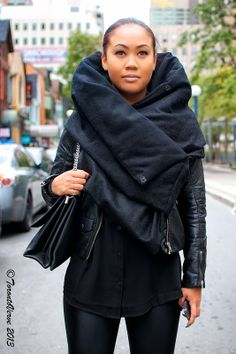 """Amanda: """"My style is black and timeless -- it's all I wear, but I'm not gothic. I work at Serpentine so I love men's fashion like Rick Owens, Boris Bidjan Saberi and Julius_7, which is my scarf."""""""