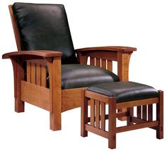 Stickley Furniture: Classic Bow Arm Morris Chair & Ottoman