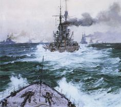 German High Seas Fleet leaving for the North Sea on 30th May 1916 for the Battle of Jutland: picture by Claus Bergen