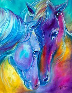 M BALDWIN ORIGINAL Painting HORSE LOVING SPIRITS Equine Art by MARCIA BALDWIN #Abstract