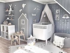 Inspiration from Instagram - grey and white nursery boys room, Scandinavian Style, wall decals - L i n e (@mamma.line) в Instagram: «Goodnight