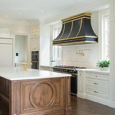 Black French Vent Hood with Polished Brass Trim - Transitional - Kitchen Julie's Kitchen, Black Kitchen Island, Kitchen Hoods, Kitchen Flooring, Kitchen Decor, Kitchen Tips, Kitchen Ideas, Home Staging, Beautiful Kitchens