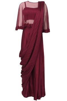 Oxblood satin sari with floral embroidered cape available only at Pernia's Pop Up Shop.