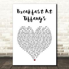 Deep Blue Something Breakfast At Tiffany's White Heart Song Lyric Art Print