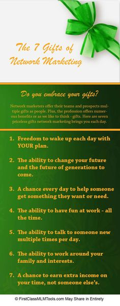 The 7 Gifts of Network Marketing. Interesting, and this is why I love doing what I do! #networkmarketing