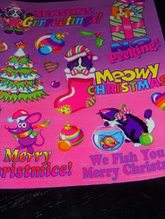 LISA FRANK  vintage stickers  S484 Christmas greeting by 4JOY2YOU, $7.00