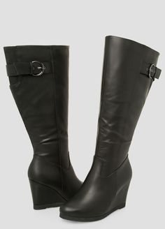 d7dadb1a4396 Buckle Tall Wedge Boot-Wide Calf Wide Width Buckle Tall Wedge Boot-Wide Calf
