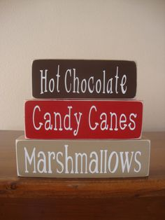Hot Cocoa wood Stacker Blocks-- Hot Chocolate, Candy Cane, Marshallows, wood stackers, Christmas decor, holiday decor, home decor by DeannasCraftCottage on Etsy
