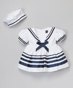 White Bow Sailor Dress & Beret - Infant, Toddler & Girls $29.99 by Zulily