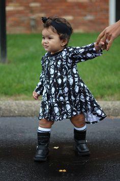 T-Shirt Dress for Toddler Girl's - Black & White