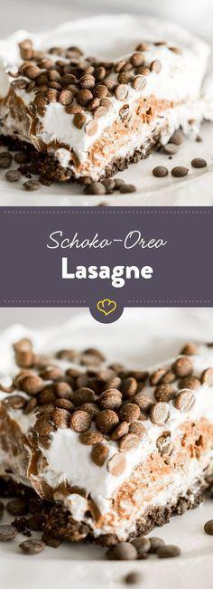 Zerbröselte Oreo-Kekse, eine zarte Frischkäsecreme, ein feiner Schokoladenpudding und zum Schluss eine luftig-lockere Sahnehaube.