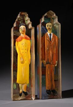Stephanie Trenchard, HENRIETTA & MR. LACKS, Sand Cast Glass with Sculpted and Painted Inclusions, 19 x 4 1/2 x 4""