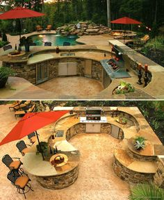 Outdoor Kitchen Ideas - Listed below you will certainly discover some outstanding exterior cooking area style concepts in addition to some suggestions that will make your outdoor patio elegant and also inviting, enjoy! Backyard Patio Designs, Backyard Landscaping, Patio Ideas, Diy Patio, Patio Bar, Swimming Pools Backyard, Outdoor Rooms, Outdoor Living, Outdoor Kitchens