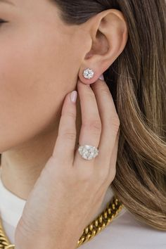 f45cbd9dd HARPER STUDS 2 Carat Per Earring (8mm) Old Euro Round Moissanite With Claw  Prong Stud Earring in 14K White Gold (4 CTW) - In Stock!