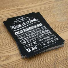 rock n roll vintage type wedding invitation by magik moments | notonthehighstreet.com