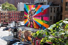 Big mural in NYC. Painted by Eduardo Kobra.  View from the Highline in Chelsea