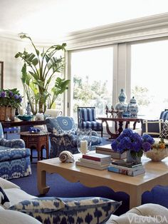 Blue and White Living Room via Habitually Chic