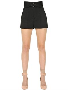 RED VALENTINO Stretch Wool Belted Shorts, Black. #redvalentino #cloth #shorts